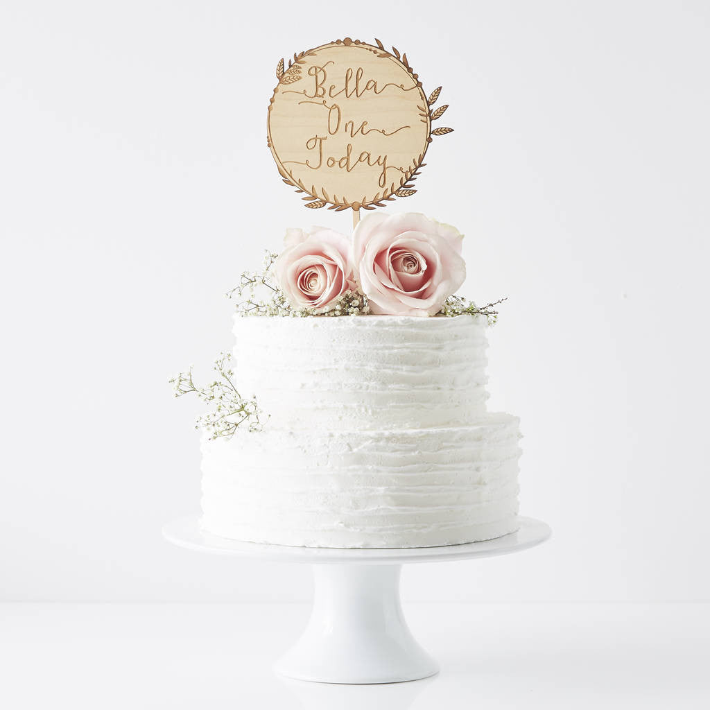 Personalised Engraved Wreath Birthday Cake Topper