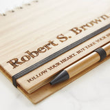 Personalised Etched Wooden Notebook Set For Him