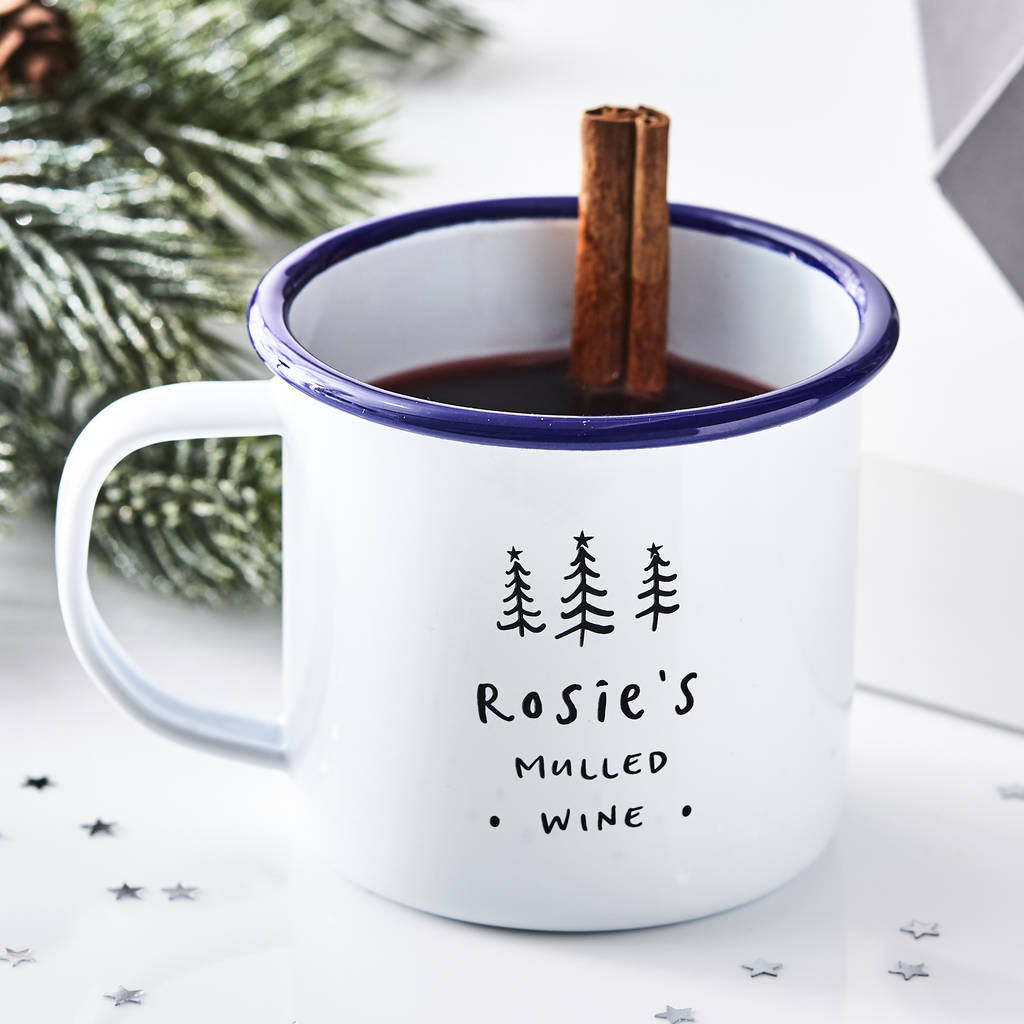 Personalised Christmas Tree Enamel Mug