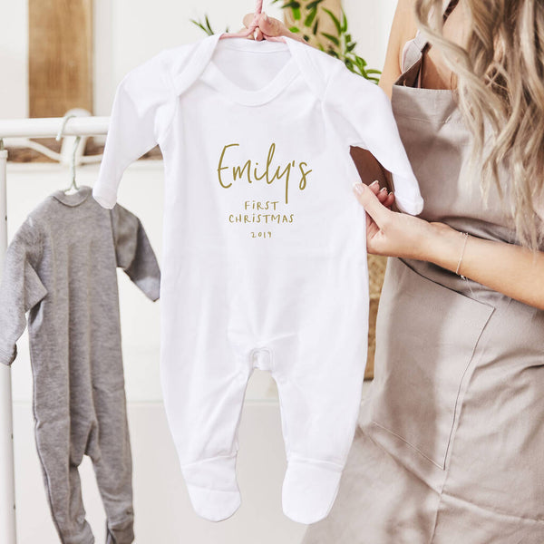 Personalised First Christmas Babygrow
