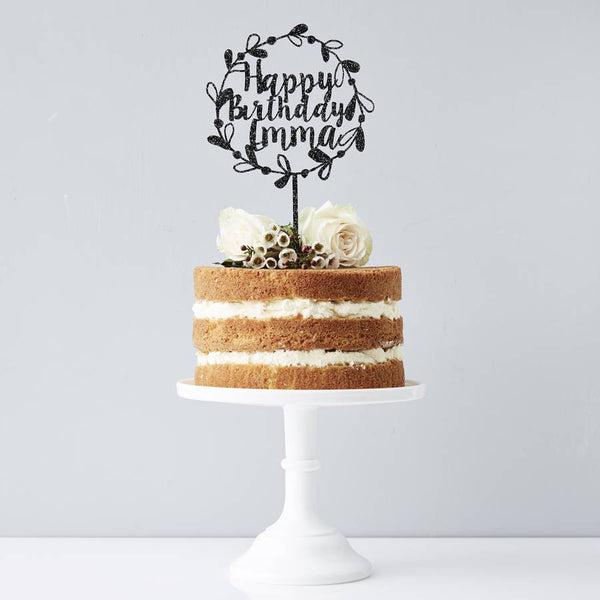 Personalised Floral Birthday Cake Topper