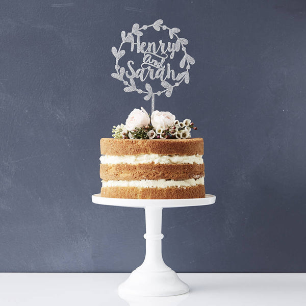 Personalised Floral Couples Wedding Cake Topper