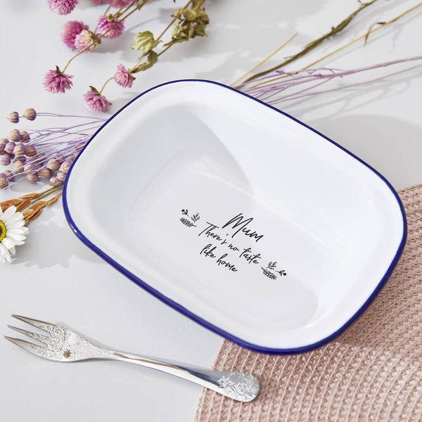 Personalised Floral Enamel Pie Dish