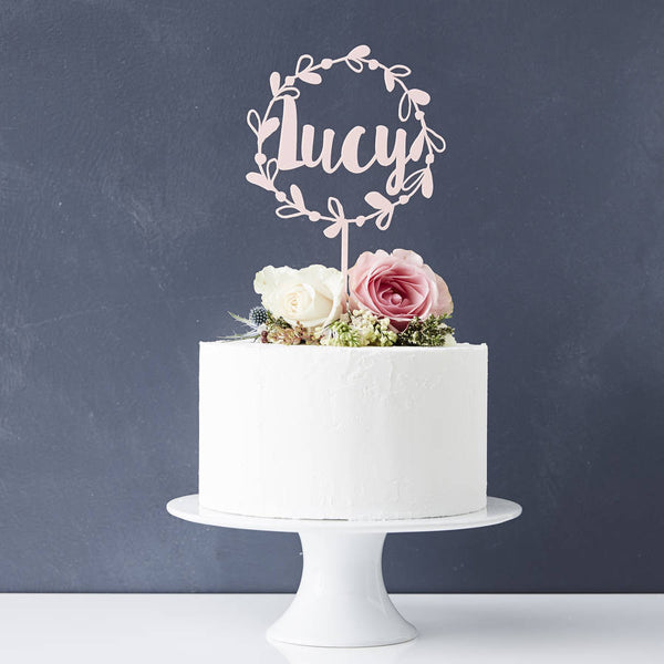 Personalised Floral Name Cake Topper