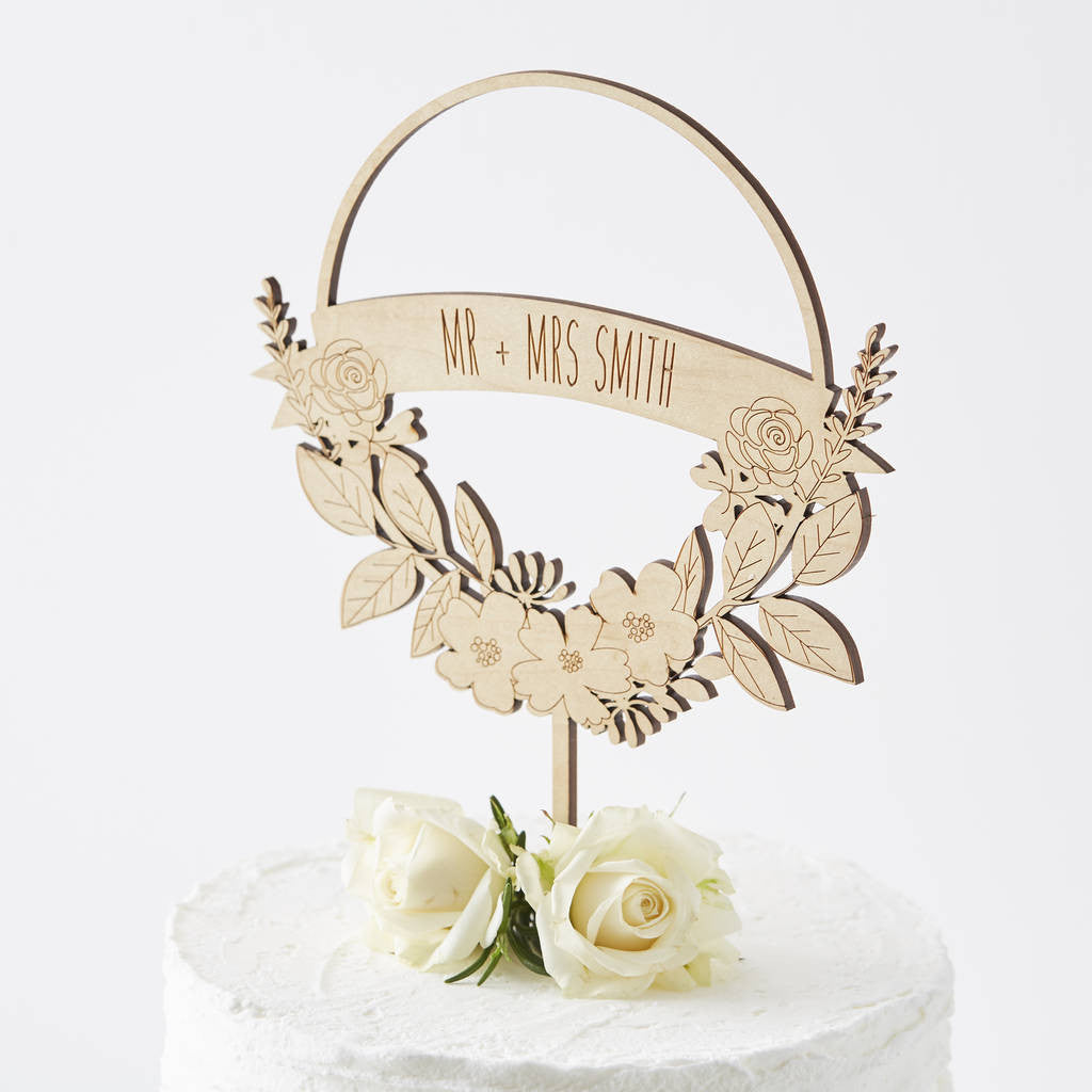 Personalised Flower Wreath Cake Topper