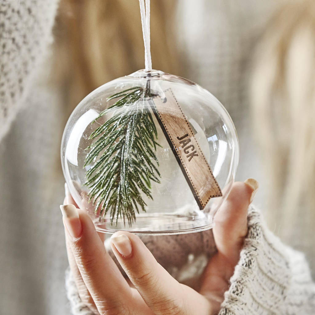 Personalised Foliage Glass Bauble