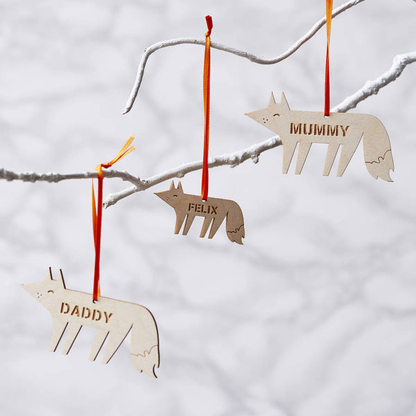 Personalised Fox Wooden Christmas Decoration