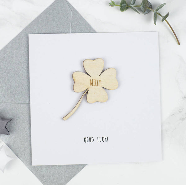 Personalised Good Luck Keepsake Card