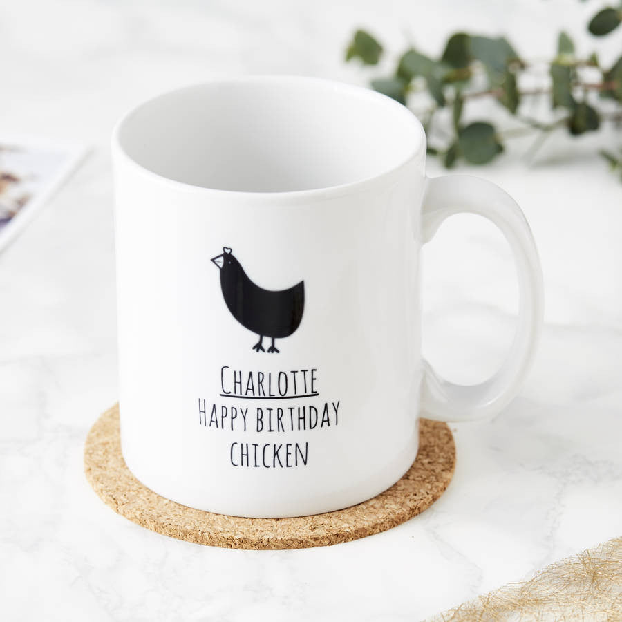 Personalised Happy Birthday Chicken Mug