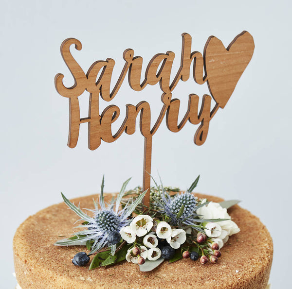 Personalised Happy Couple Wooden Wedding Cake Topper