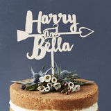 Personalised Heart Arrow Wooden Cake Topper
