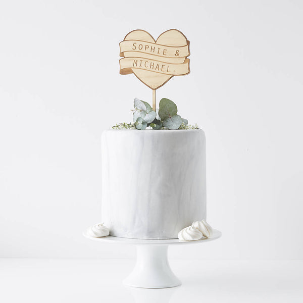 Personalised Heart Banner Cake Topper