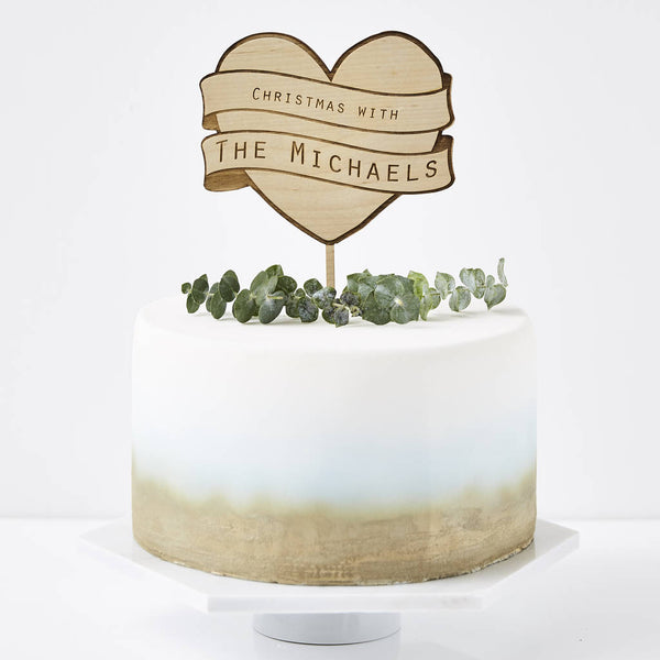 Personalised Heart Christmas Cake Topper