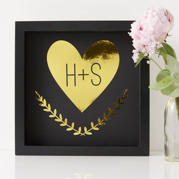Personalised Heart Framed Couples Print