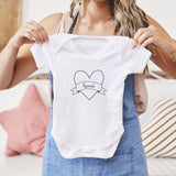 Personalised Heart Short Sleeve Babygrow