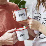 Personalised His And Hers Enamel Mugs
