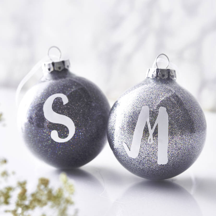 Personalised Initial Glitter Bauble