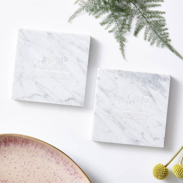 Personalised Initials Marble Coaster