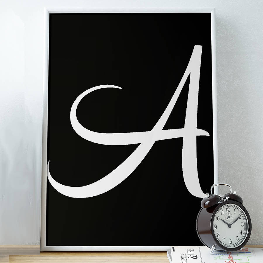 Personalised Inverse Brushed Initial Print