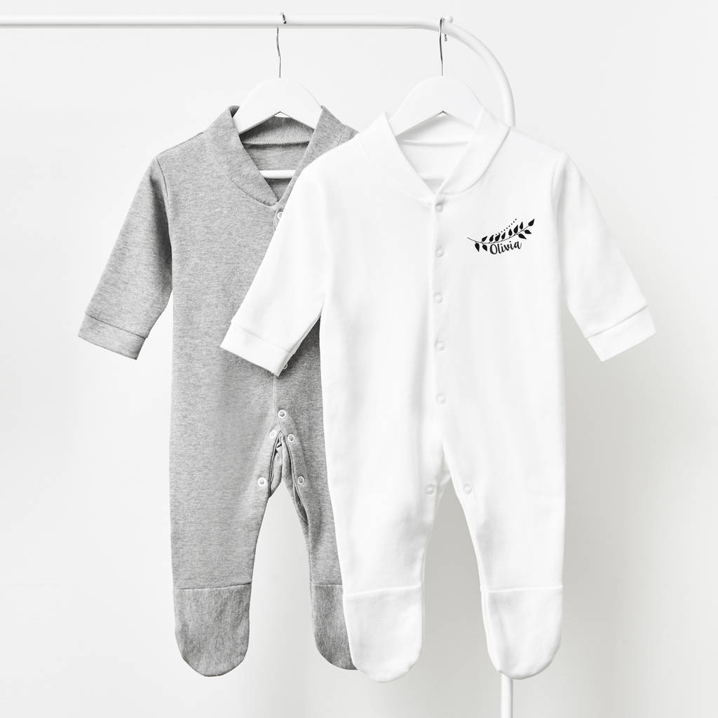 Laurel Personalised Baby Sleepsuit