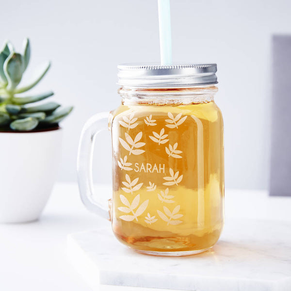 Personalised Laurel Mason jar