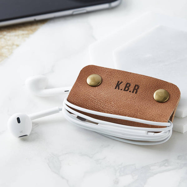 Personalised Leather Headphone Tidy