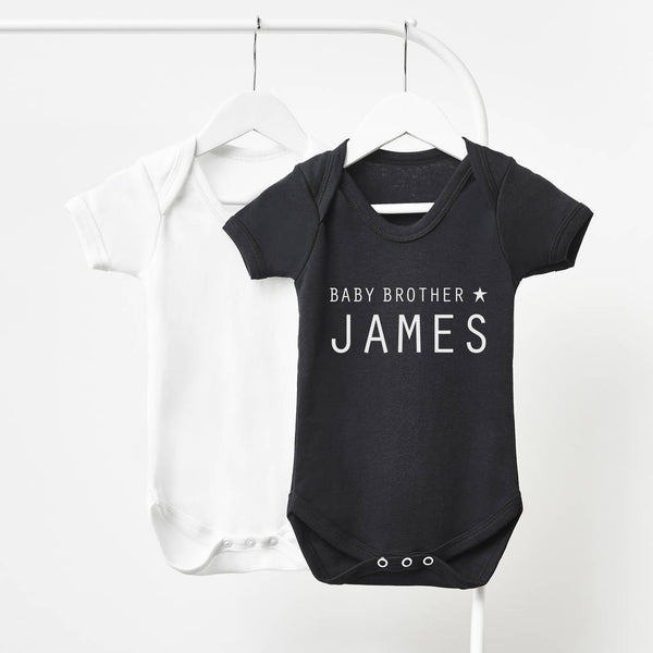 Little Brother Personalised Short Sleeve Babygrow