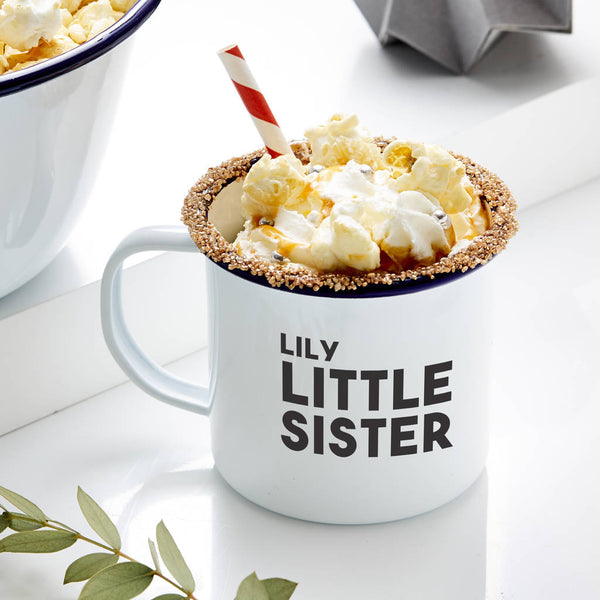 Personalised Little Sister Enamel Mug