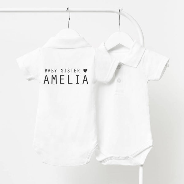 Little Sister Personalised Polo Babygrow
