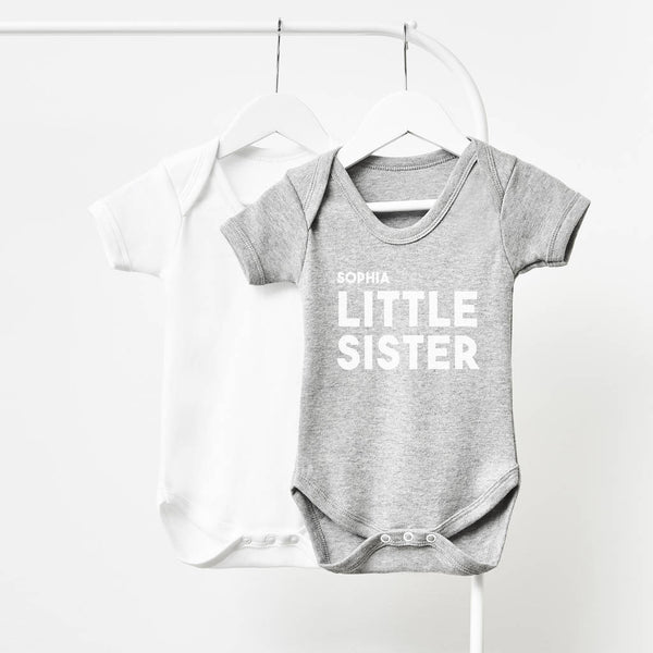 Personalised Little Sister Short Sleeve Babygrow