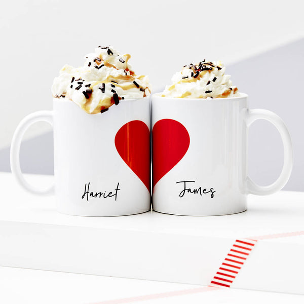 Personalised Love Heart Mug Set