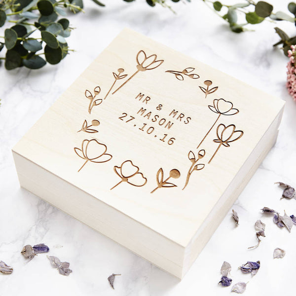 Personalised Meadow Wedding Keepsake Box