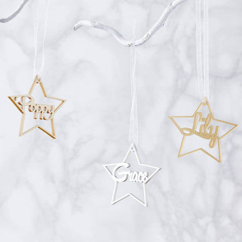 Personalised Metallic Star Christmas Decoration