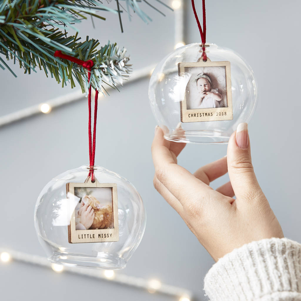 Personalised Mini Photo Glass Bauble