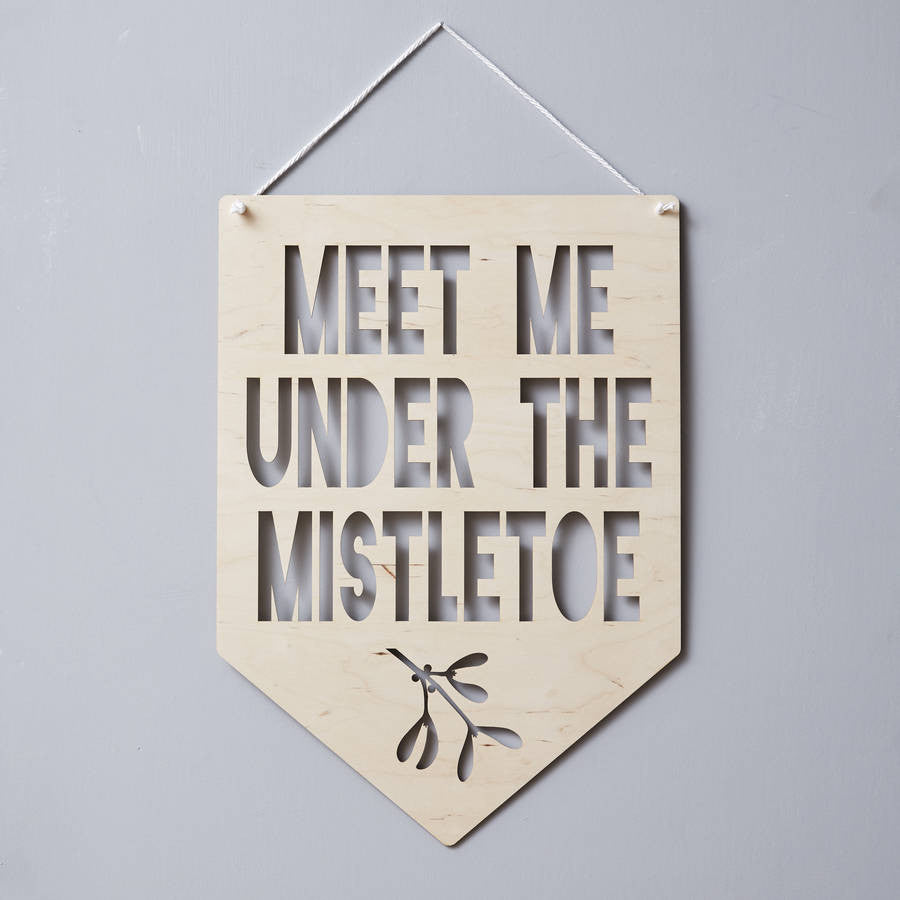 Personalised Mistletoe Hanging Wooden Flag