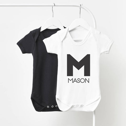 Monogram Personalised Short Sleeve Babygrow