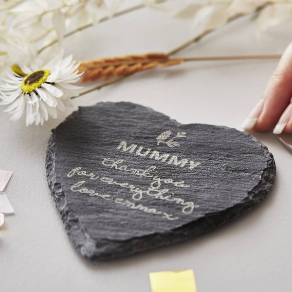 Personalised Mother's Day Heart Slate Coaster