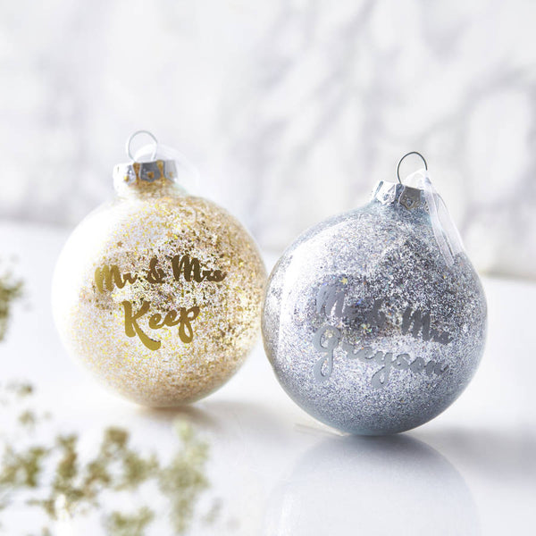Personalised Mr And Mrs Sparkle Bauble