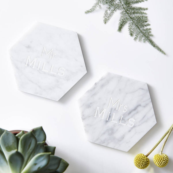 Personalised Mr And Mrs Marble Coaster