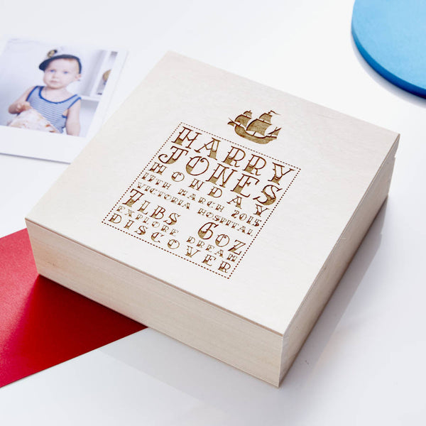 Personalised Nautical Wooden Baby Keepsake Box