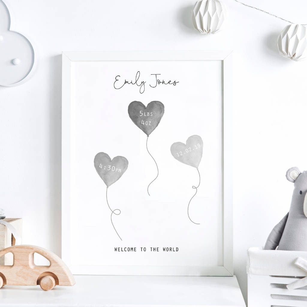 Personalised New Baby Balloons Framed Print