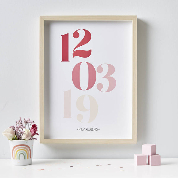 Personalised New Baby Date Print