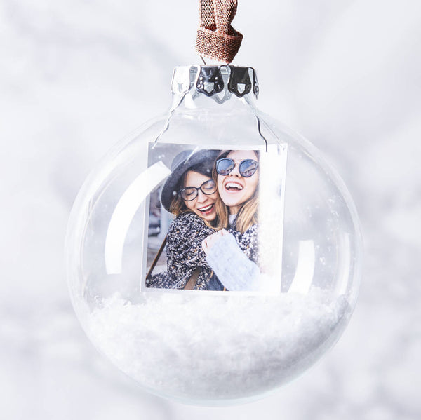 Personalised Photo Snow Globe Christmas Bauble