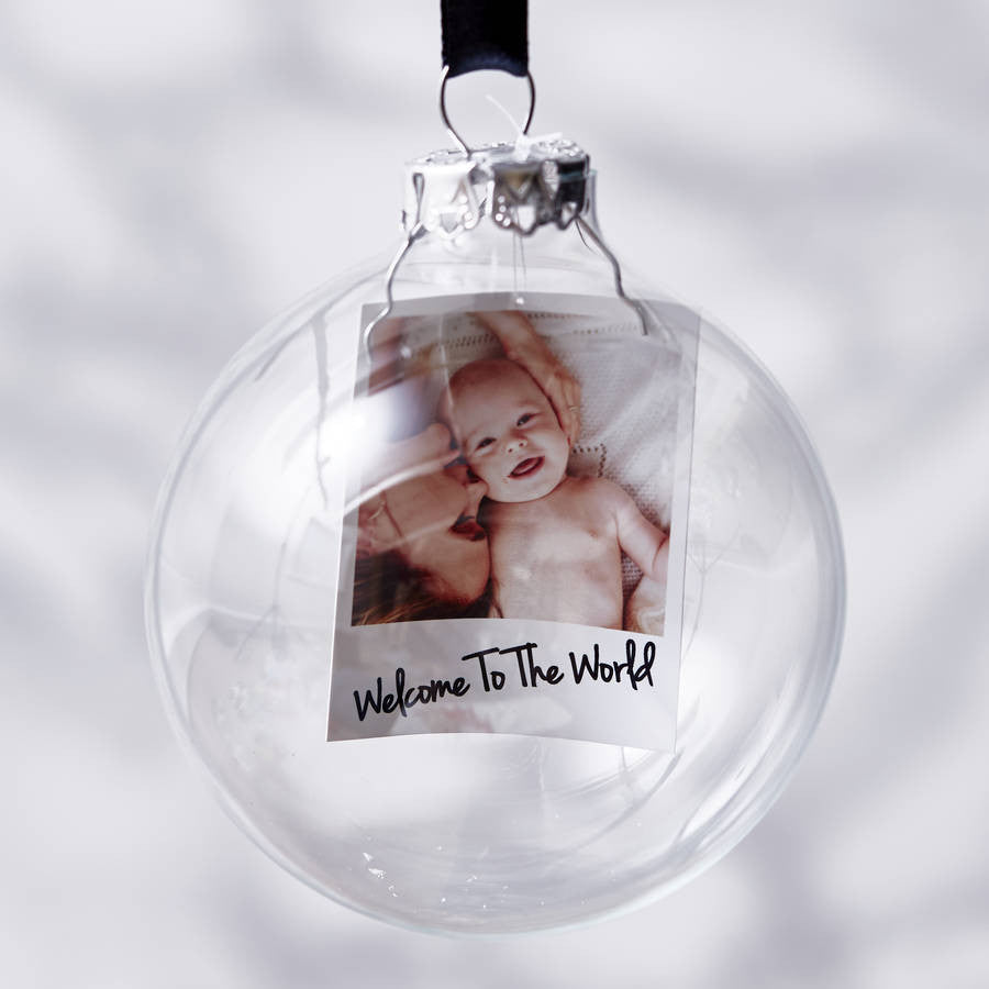 Personalised Polaroid Baby's First Christmas Bauble