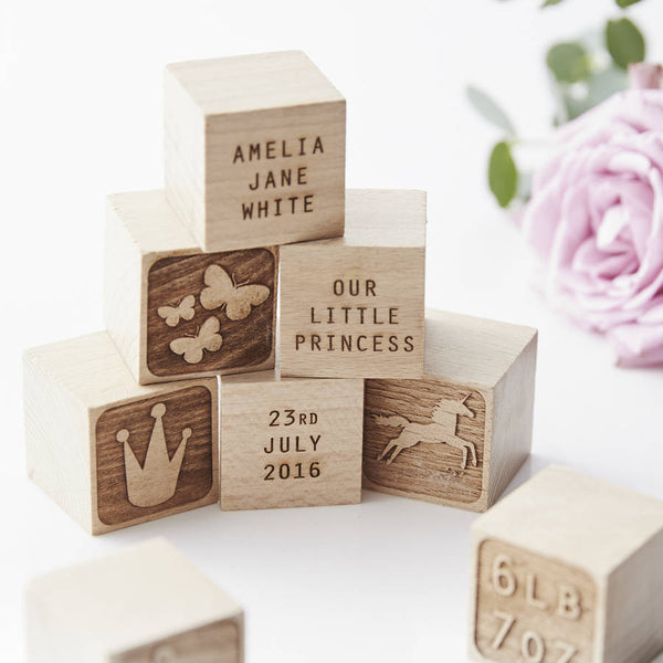Personalised Princess Keepsake Building Blocks