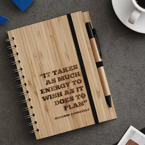 Personalised Quote Wooden Notebook Set For Him