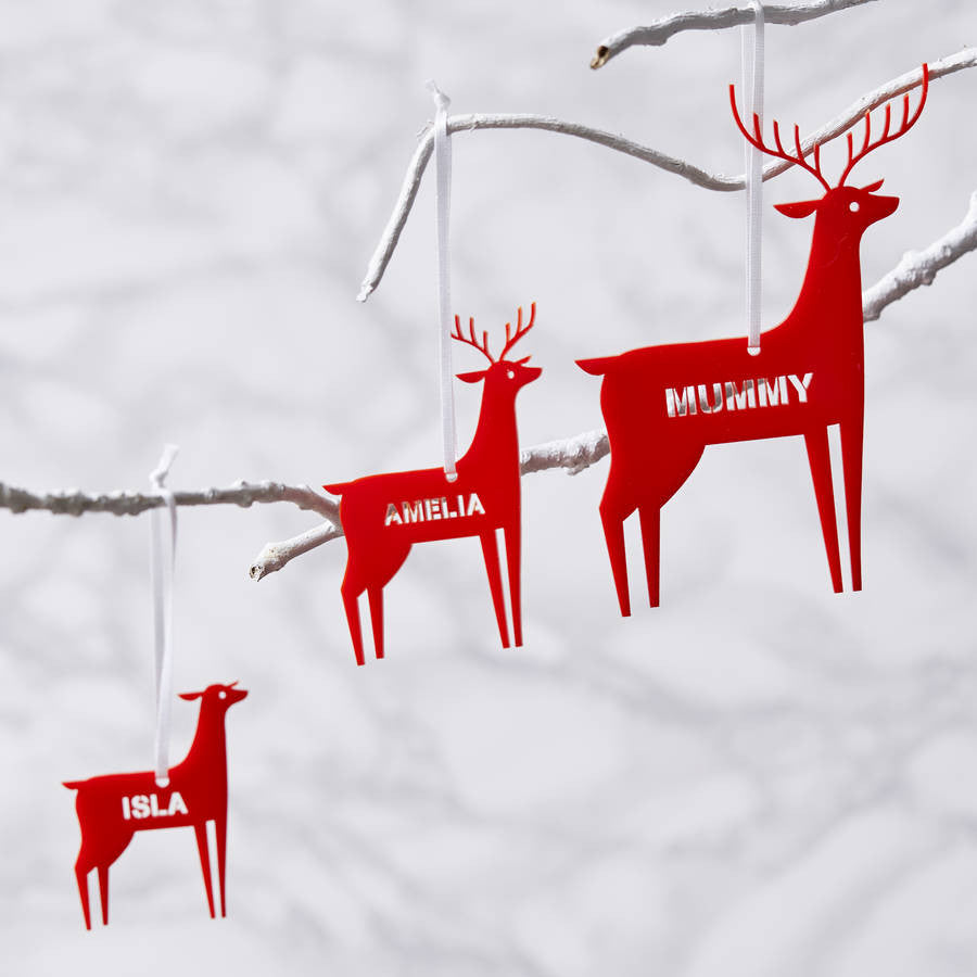 Personalised Scandinavian Reindeer Christmas Decoration