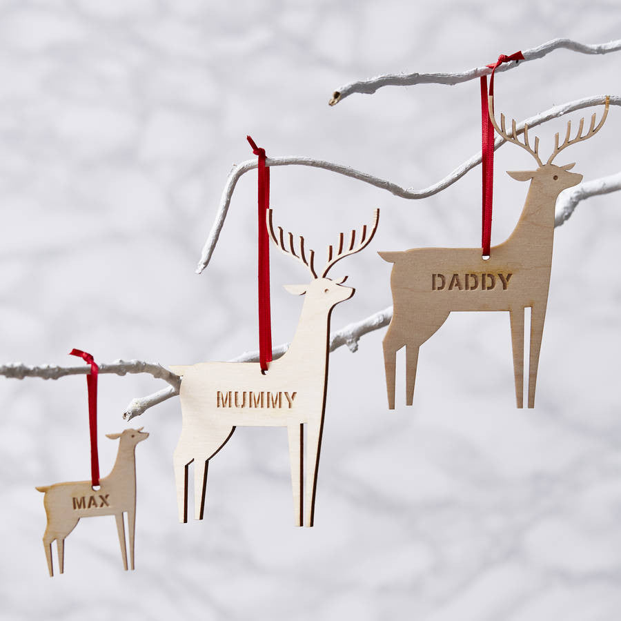 Personalised Reindeer Wooden Christmas Decoration