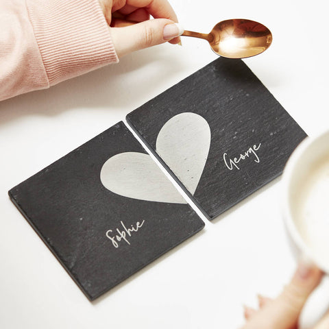 Personalised Heart Coaster Set