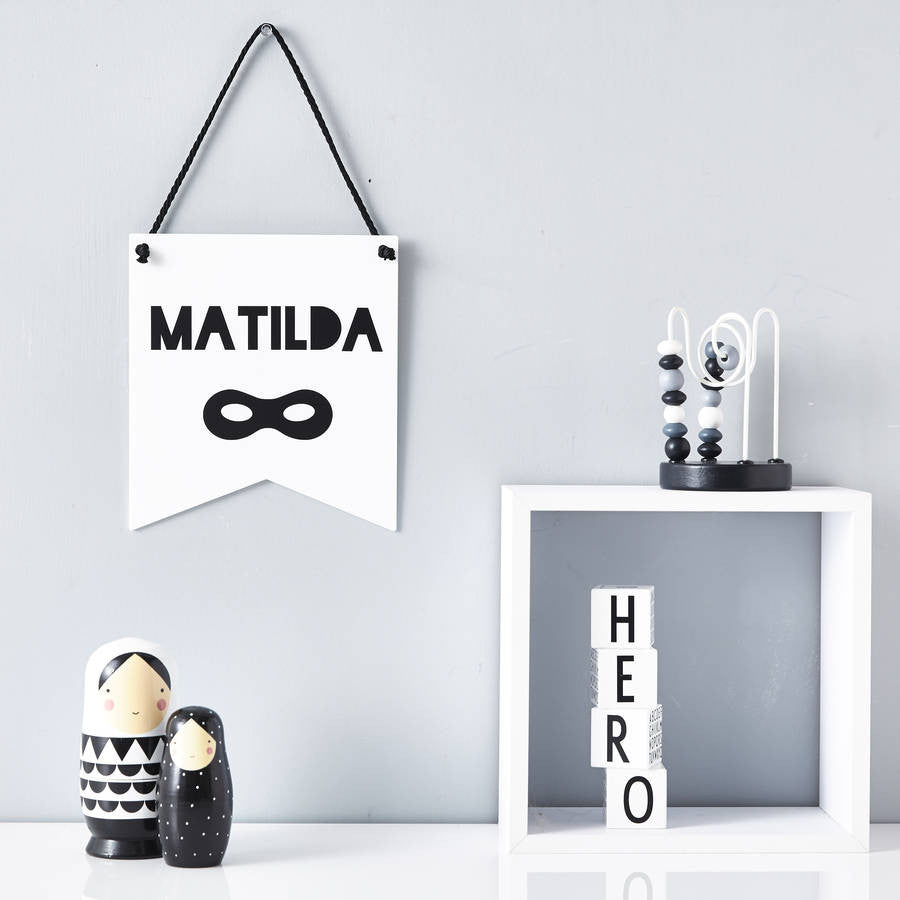 Personalised Superhero Monochrome Flag
